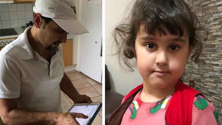 Khabat Amin röstar digitalt, dottern Alva Lorin är klädd i en klänning med Kurdistan karta