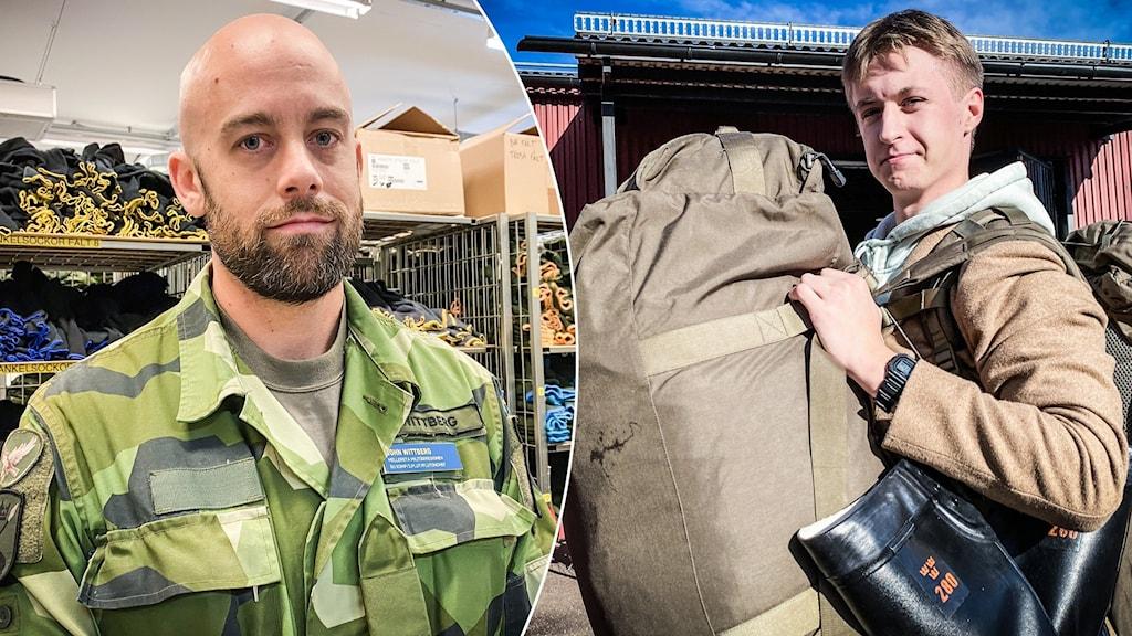 Till vänster gruppchefen i grön uniform och till höger Axel Granberg har hämtat upp sina väskor. Han har en ryggsäck både på magen och ryggen.