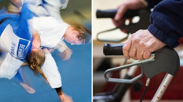 Två kvinnor som tränar judo och två händer som håller i en rullator.