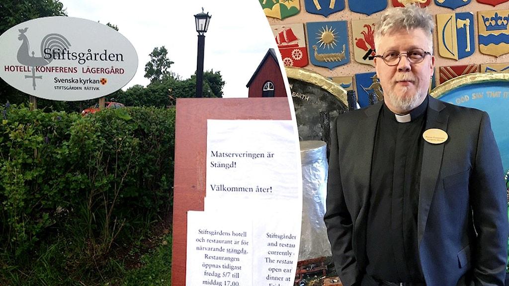 Bild på skylt vid Stiftsgården i Rättvik och en skylt om att matserveringen är stängd, samt bild på en man med glasögon och prästkrage.