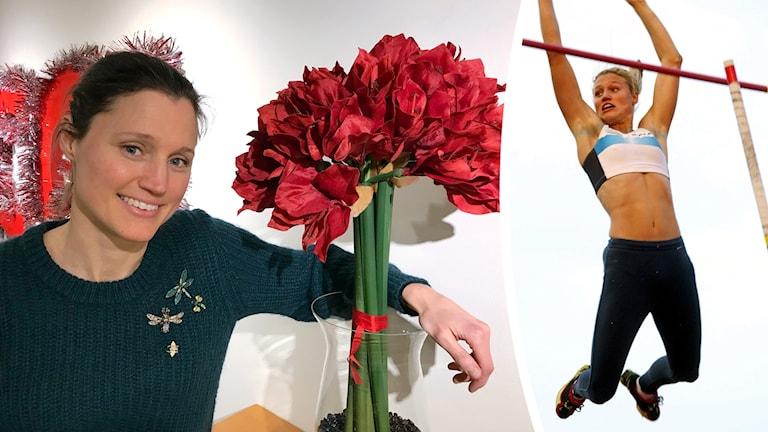 Kirsten Belin vid en röd amaryllis, samt bild på henne från en stavhoppstävling 2002.