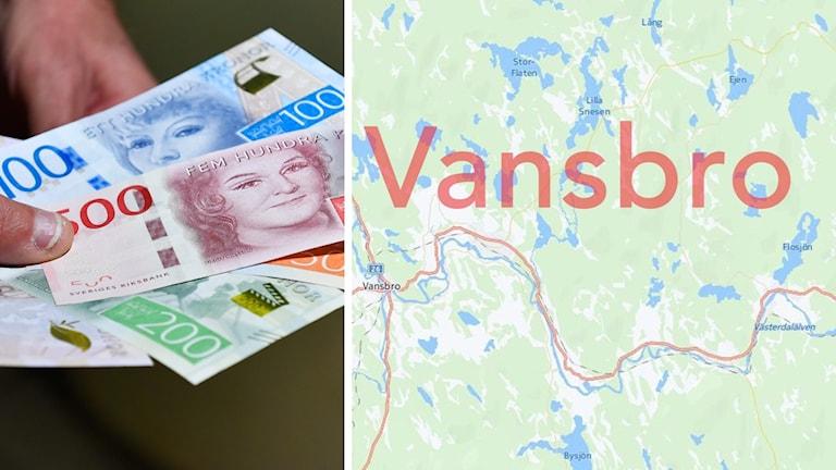 Pengar och en karta över Vansbro