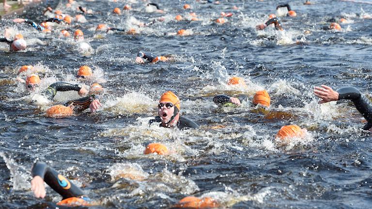 Personer simmar i älv.