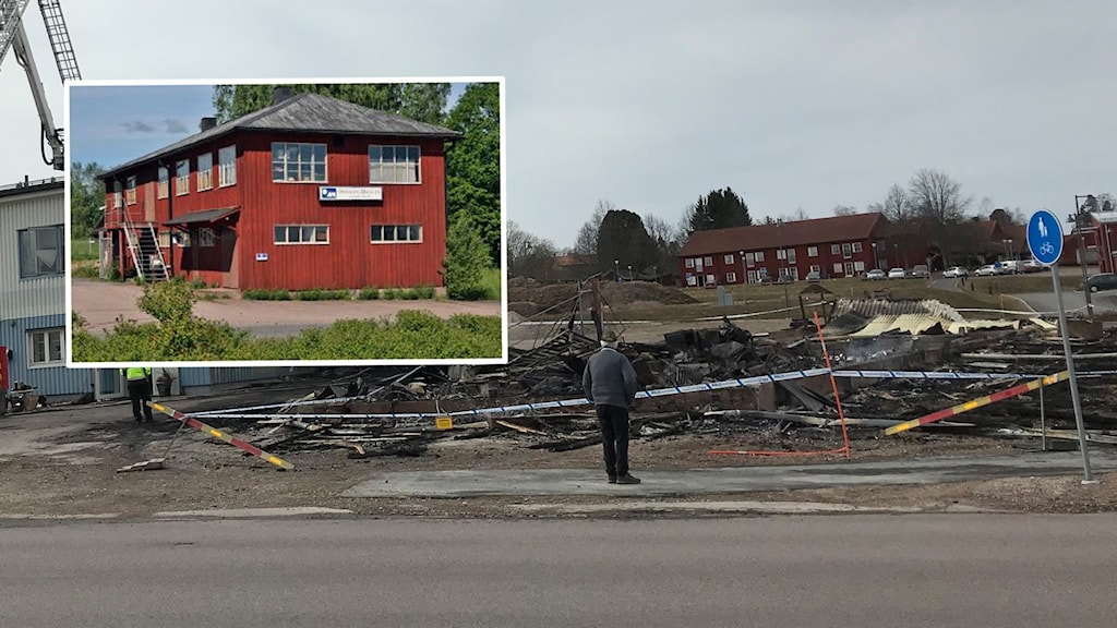 Den nedbrunna fabriken i Hedemora och på en infälld bild hur den såg ut innan branden.
