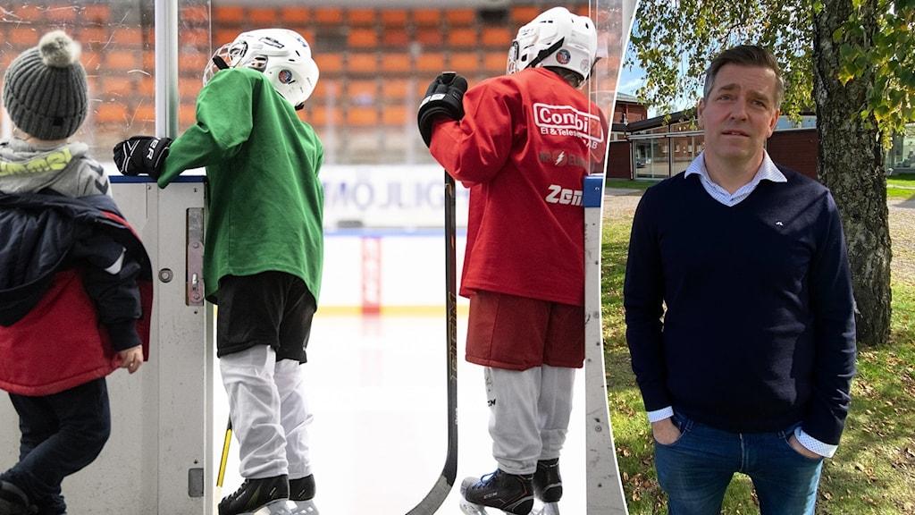 Till vänster en bild på två barn med hockeyutstyrsel och till höger Tobias Mårtensson som står utomhus.