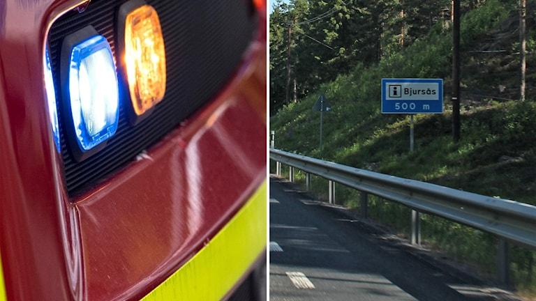 En brandbil och en bild på en skylt mot Bjursås.