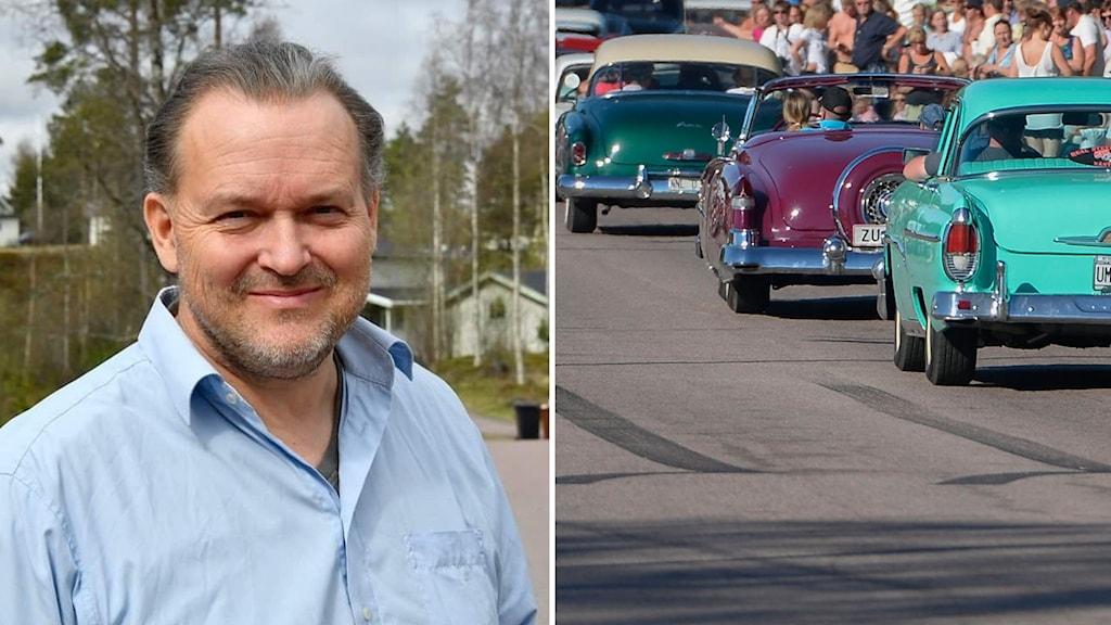 En man och en karavan med cruisingbilar