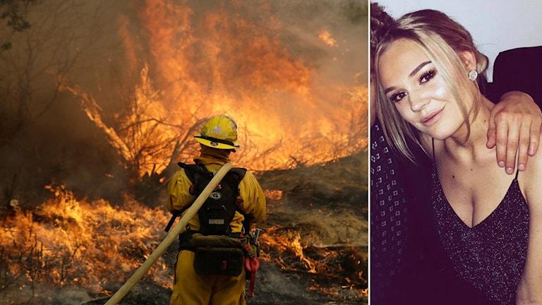 En bild på en brandman som försöker släcka en skogsbrand. På den andra bilden finns Louise från Borlänge
