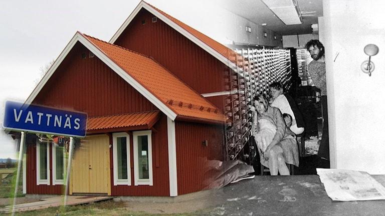 Vattnäs konsertlada och polisens bild från Norrmalmstorgsdramat