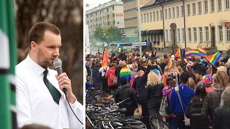 Pär Sjögren i vit skjorta talar i mikrofon. Också bild från prideparaden i Falun som stördes av nazister.