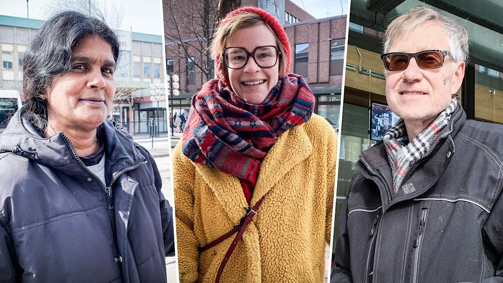 Två kvinnor och en man som är utomhusklädda i jackor och halsdukar, solen skiner och det är ett kollage.