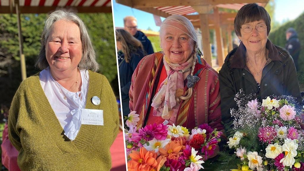 Kicki Kobdock Haak, intendent på Hildasholm och Britta Höghammar  och Mona Erkers från trädgårdsföreningen.