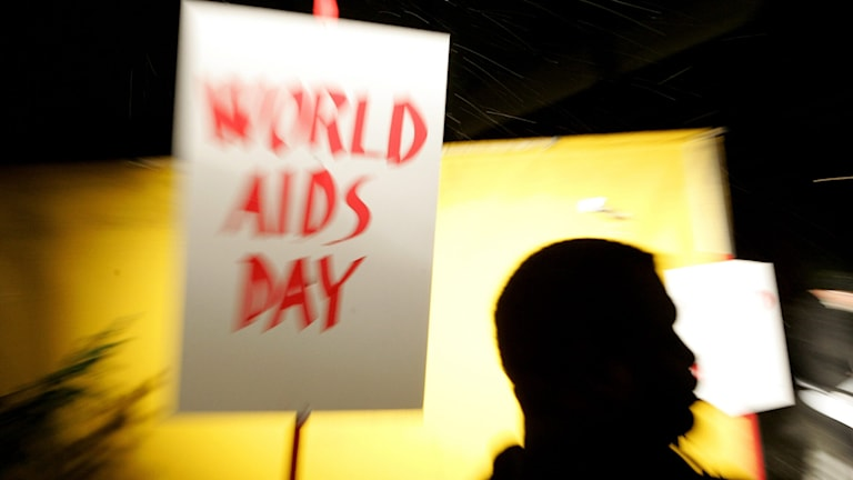 En skylt där det står World Aids Day.
