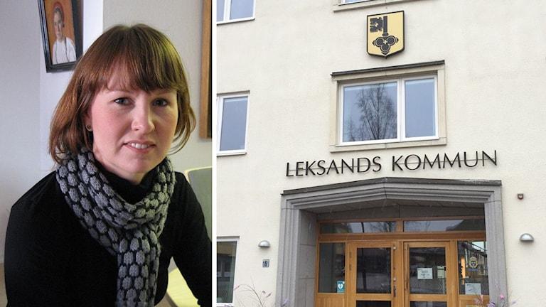 Centerpartisten Ulrika Liljebergm kommunstyrelsens ordförande, och fasad till Leksands kommunhus.