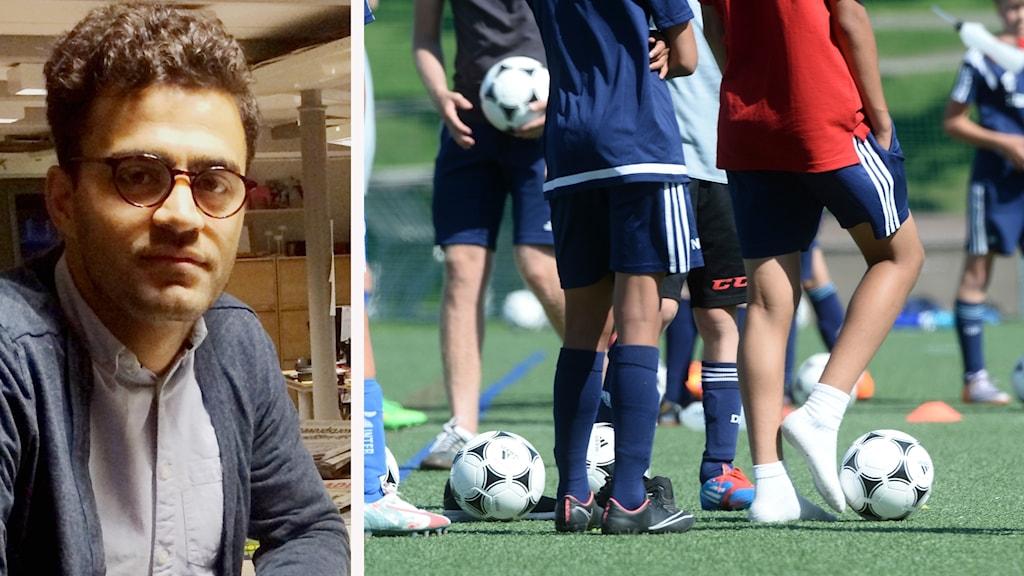 Amir och en bild på unga fotbollsspelare