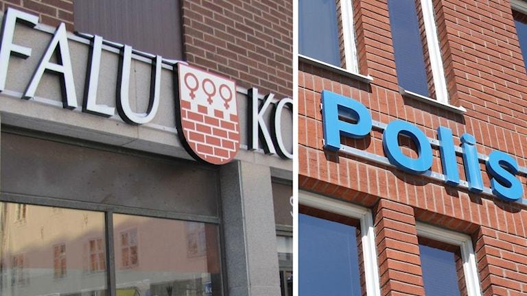 Stadshuset i Falun samt polishuset i Borlänge.