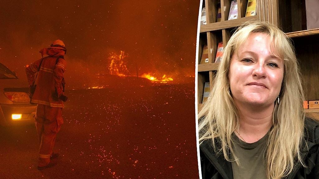 Bild på brandman i rödgult brandhav samt bild på en kvinna i ljust hår.