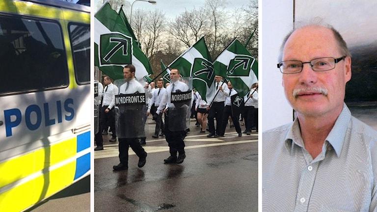 Polisbil, svartvitklädda män medgrönvita nazistflaggor samt en porträttbild på Kenneth Persson.