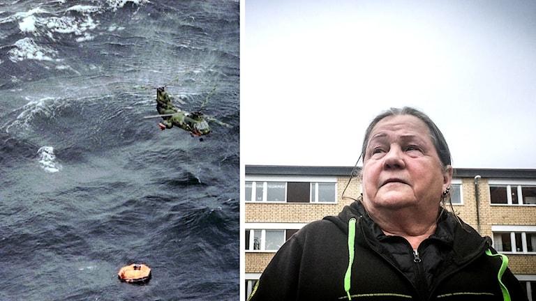Helikopter över livbåt i havet samt bild på Marita Johansson som tittar upp mot himlen med tankfull blick.