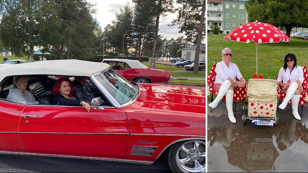 Tvådelad bild. Till vänster en röd bil, till höger - Carina Skogfelter och Annicka Fröbom under ett vitprickigt parasoll.