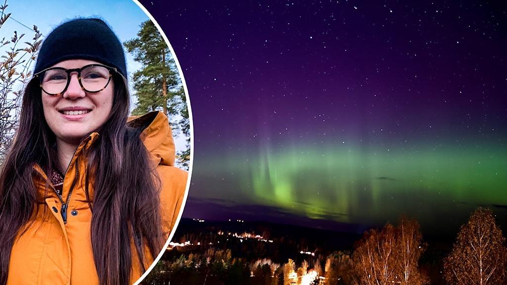 En kvinna i orange jacka, svart mössa och glasögon tittar in i kameran. Samt en bild på ett grönt norrsken över en stad.
