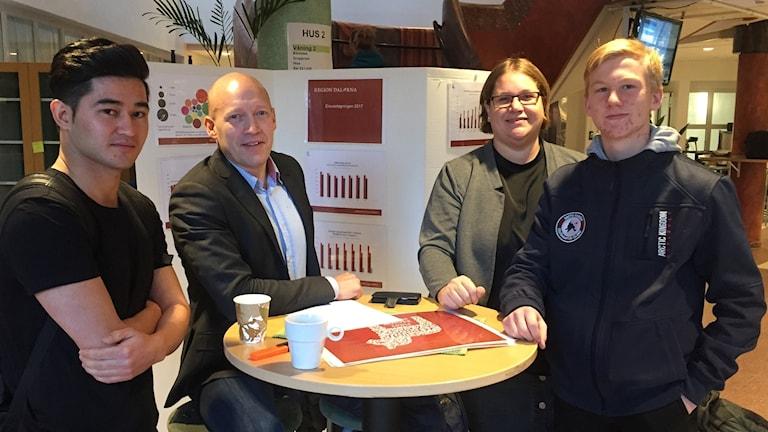 Ramazan Qalandari, Dan Gustafsson, Lisa Färlin och Gabriel Hansson står runt ett bord