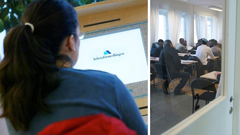 Kvinna vid dator och elever i ett klassrum.