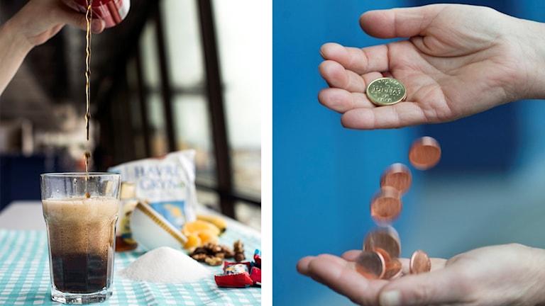 Hand som häller upp läsk ur burk i glas respektive händer som häller mynt mellan varandra.