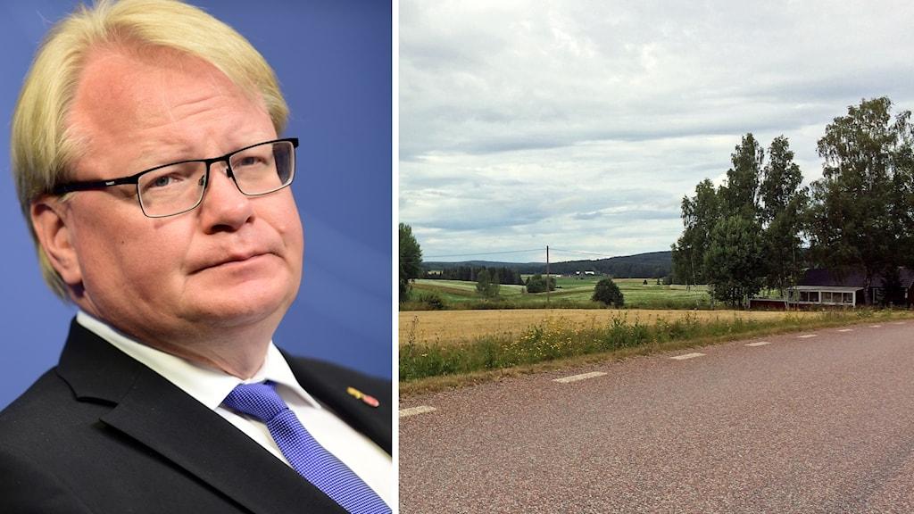 Socialdemokraten och försvarsministern Peter Hultqvist och en landsväg i Stora Skedvi.
