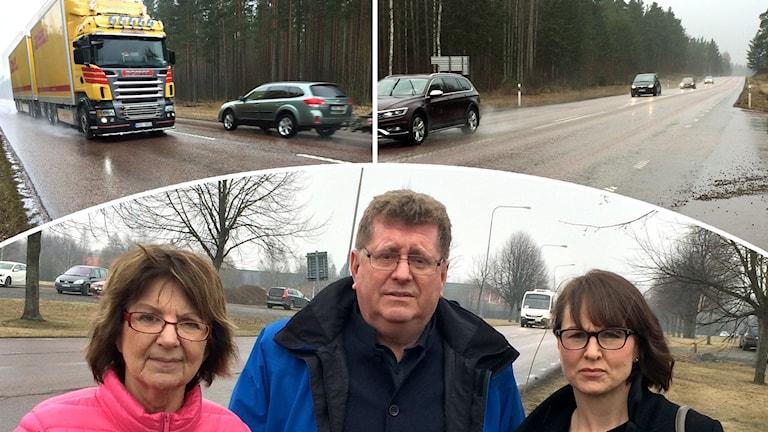 Bildkollage av biltrafik på landsväg samt två kvinnor och en man vid en väg.