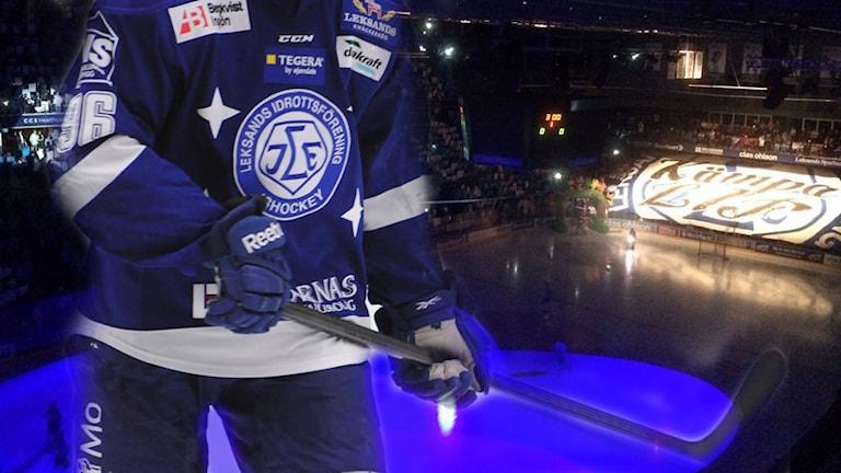 Ett kollage med en hockeyspelare och rinken i arenan