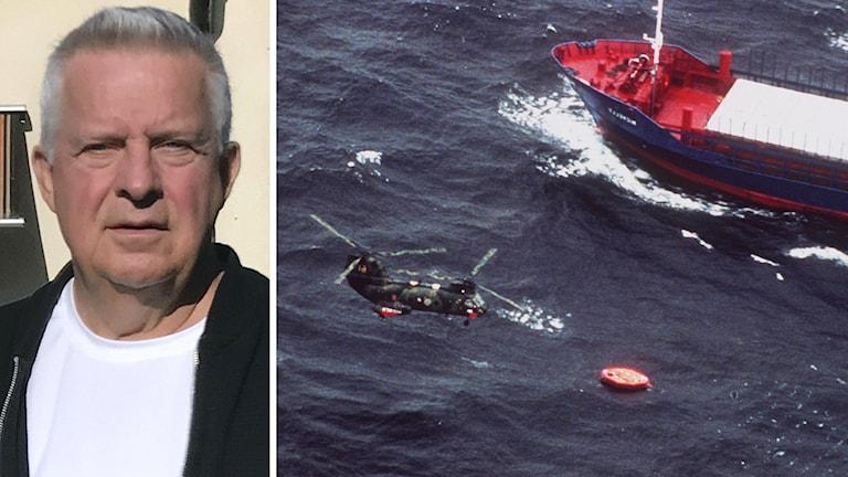 Porträttbild på Lennart Berglund samt arkivbild på en räddningshelikopter som flyger över livbåtar från Estonia.