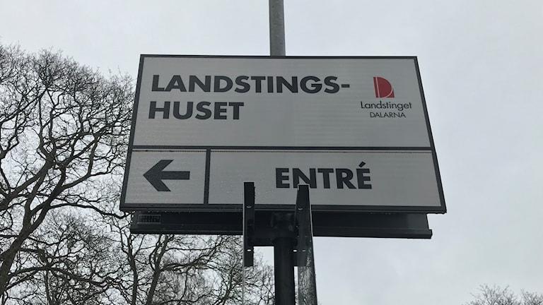 Skylten på Landstingshuset i Falun.