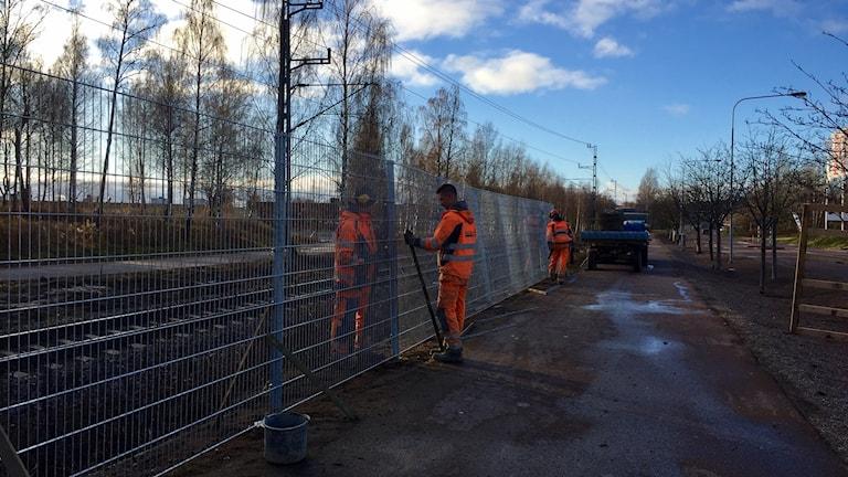 Trafikverket sätter upp stängsel längs med järnsvägsspår i Hosjö i Falun.