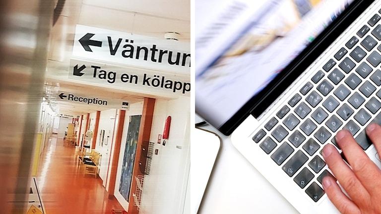 Ett korridor på ett sjukhus och en person som sitter vid en dator
