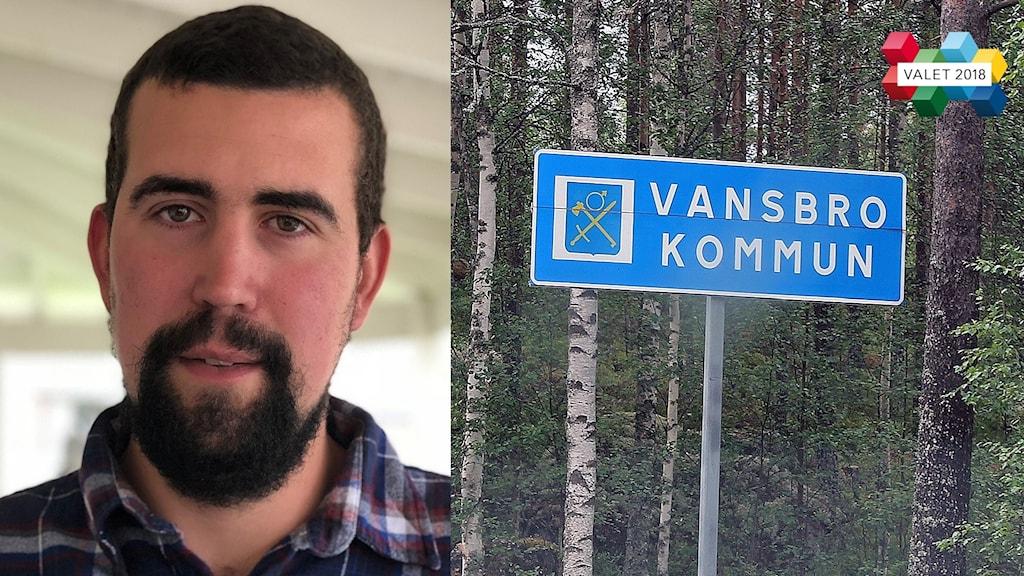 Bild på socialdemokraten Anders Edlund samt en Vansbro-kommunskylt.