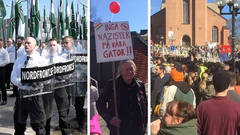 Nazister, motdemonstranter och bild på folk på Stora torget