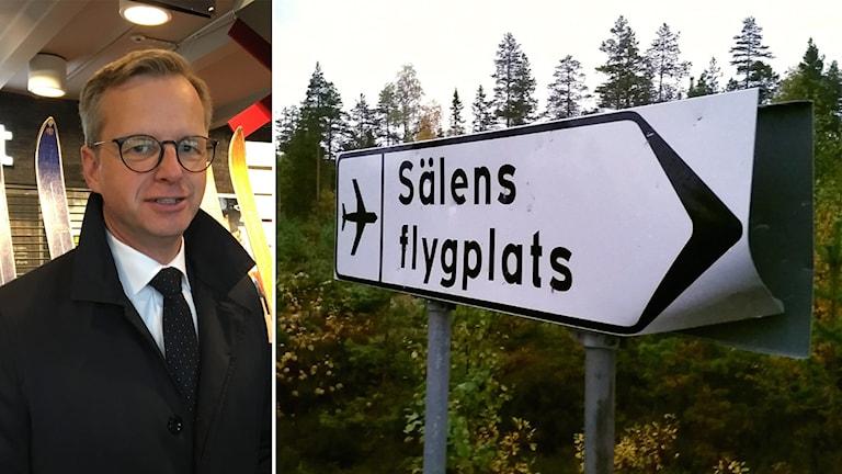 Mikael Damberg står inomhus framför en glasmonter och tittar in i kameran. Den andra bilden visar vägskylten till Sälens flygplats.