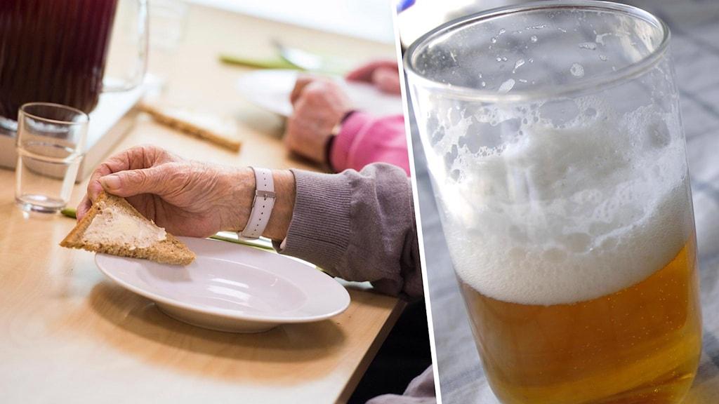 En närbild på en gammal persons hand som håller i en brödskiva med smör ovanpå en tallrik med en infälld bild på ett ölglas.