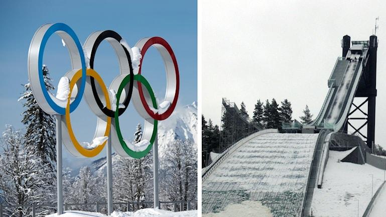 De olympiska ringarna och en av hoppbackarna på Lugnet i Falun.