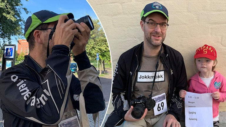 Sven Lundbäck och dottern Sofia deltar i fotomaratonet i Borlänge.