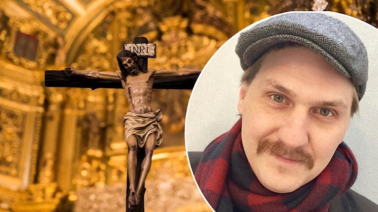 Jesus på korset och en inklippt bild på Mika Olavi.