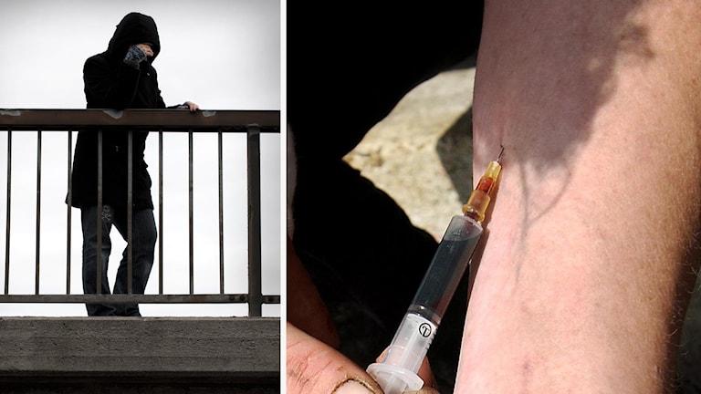 En anonym kvinna vid ett staket och en person som injicerar