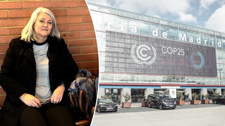 Resenären Inger Hedberg på en tågstation i Dalarna och byggnaden där FN:s klimattoppmöte hålls i Madrid.