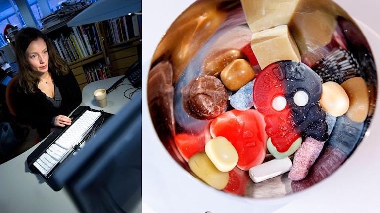 Sara Ask, dietist och författare, och en skål godis. Montage.