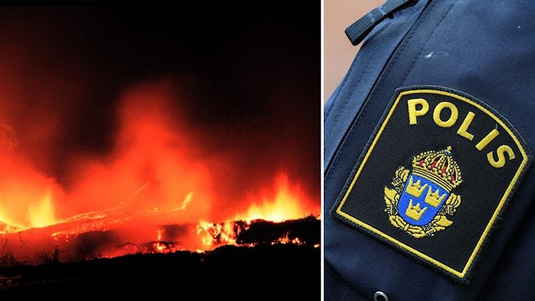 polis, bränder, lågor