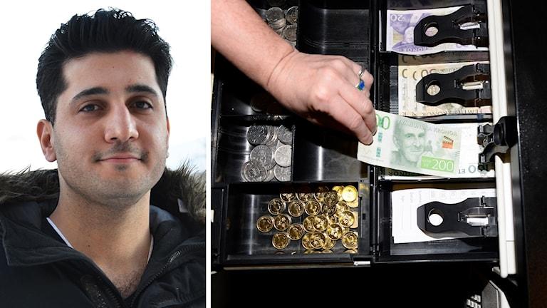 Sohrab Fadai, regionchef för Företagarna i Dalarna, och en kassa med mynt och sedlar.