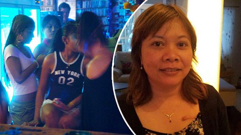 Flera thailändska kvinnor står i en bar, och en bild på Rampai Danielsson