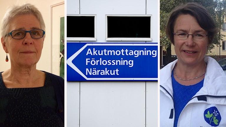 Maja Gilbert Westholm och Birgitta Sacrédeus och en skylt på förslossningsvårdsavdelning
