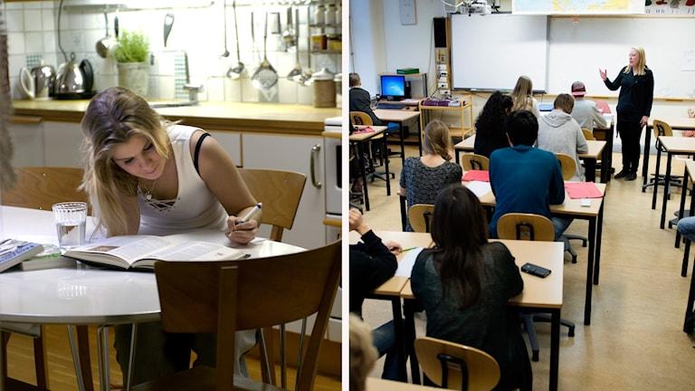 En person som sitter och pluggar och flera människor i ett klassrum.